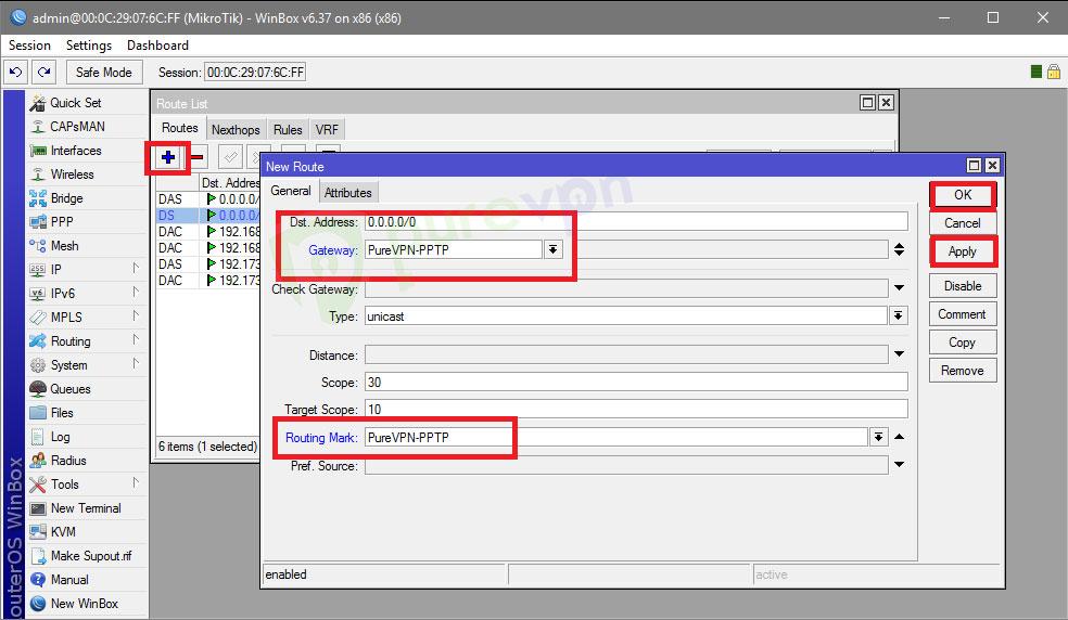 MikroTik Configuration (PPTP)