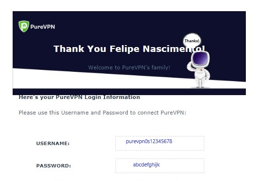 How to get PureVPN username and password?
