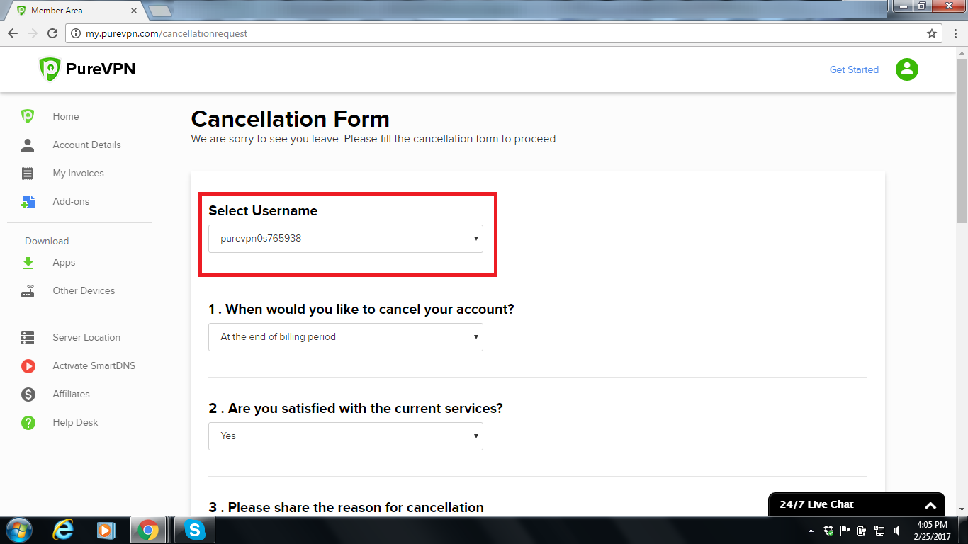 Open this cancellation form,