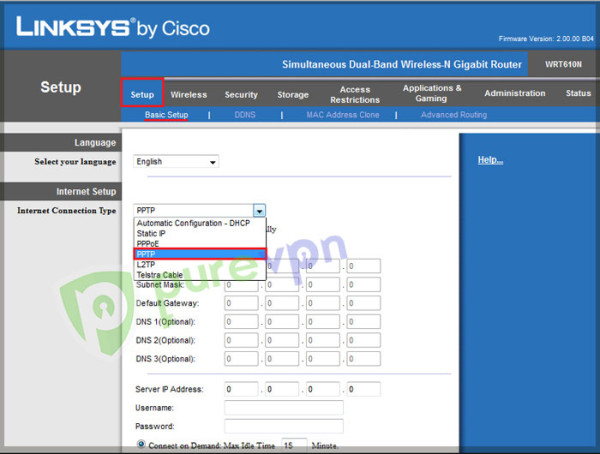 Insert the following in linksys router setting