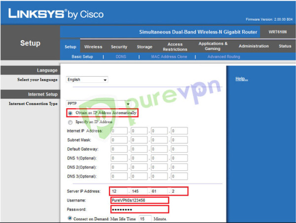 Insert the given details in Linksys router setup