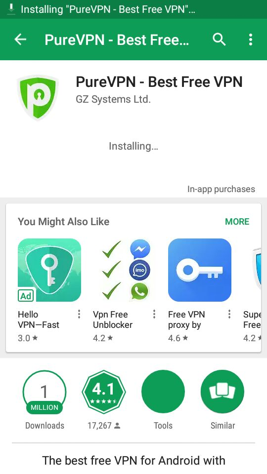 PureVPN Android app is installing