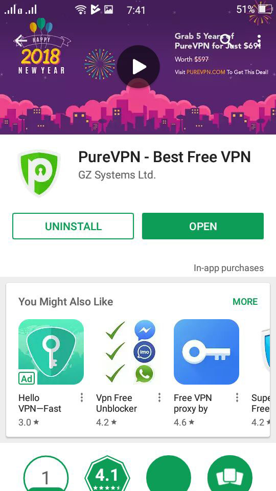 PureVPN Application has been successfully installed