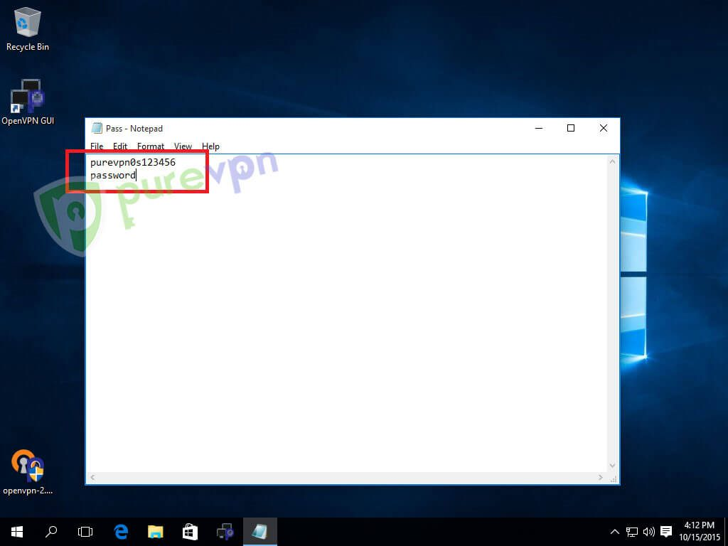 Open Notepad, type your Username in first line and passwrod in second line then save it as pass on your desktop