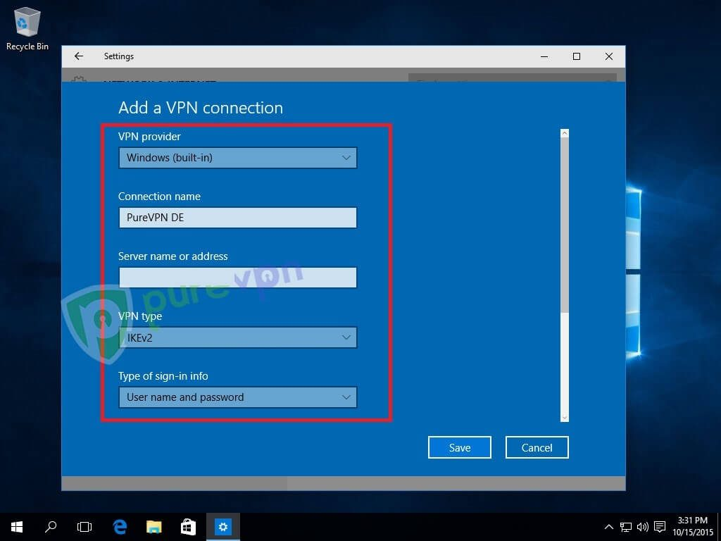 """Select Windows (built-in) from VPN Provider drop-down menu Insert any desired Name as PureVPN DE, US, etc as the Connection name Insert desired server address in Server name or address box. Click here to get the list of servers Select """"IKEv2"""" from VPN type drop-down menu Select """"User name and password"""" from the Type of sign-in info drop-down menu"""