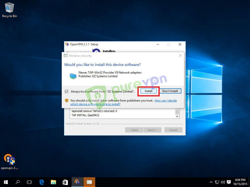 """Check """"Always trust software from """"GZ Systems Limited"""" and click Install"""