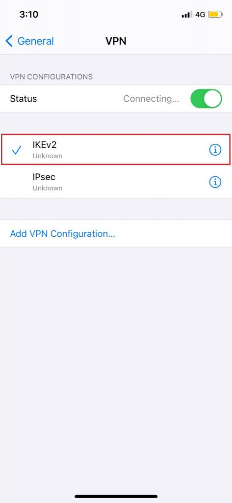 Tap IKEv2 to Turn on the VPN.