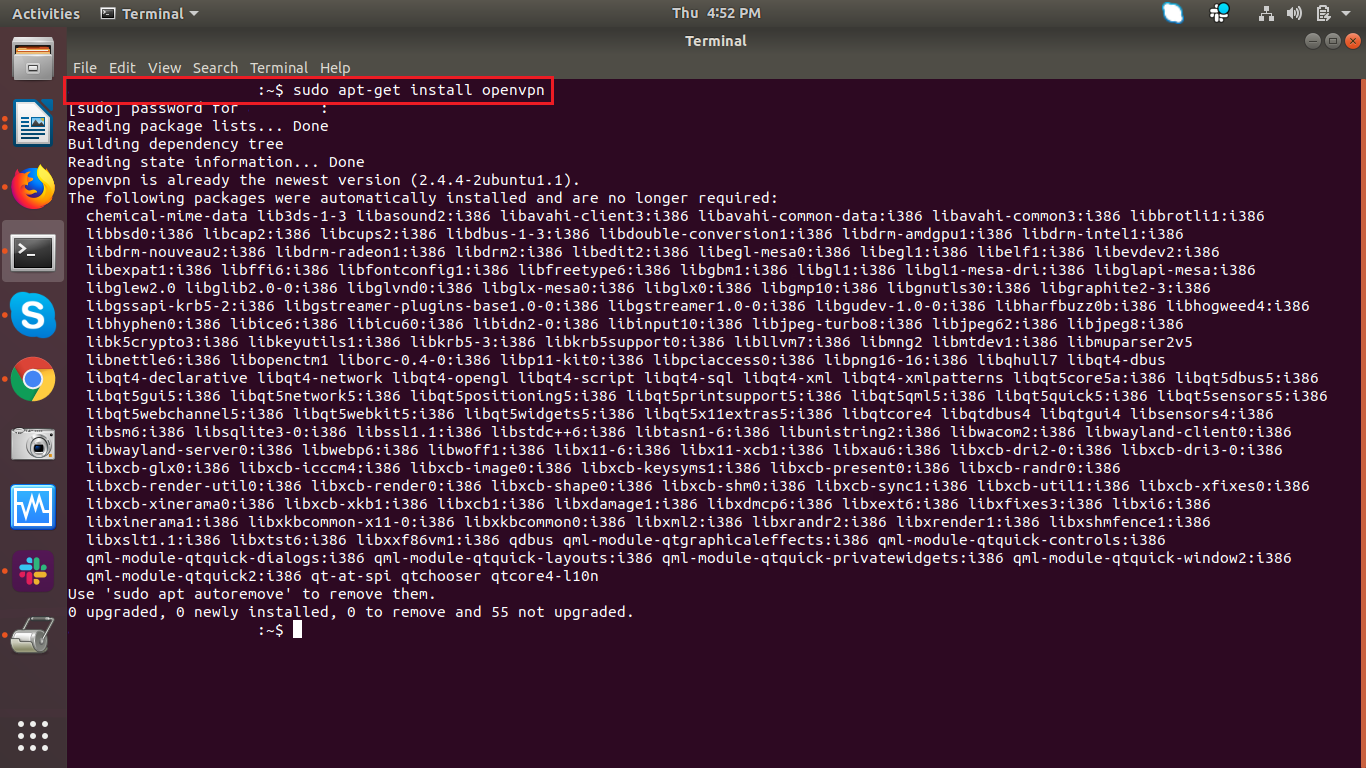 Command Line Setup in Linux (OpenVPN)