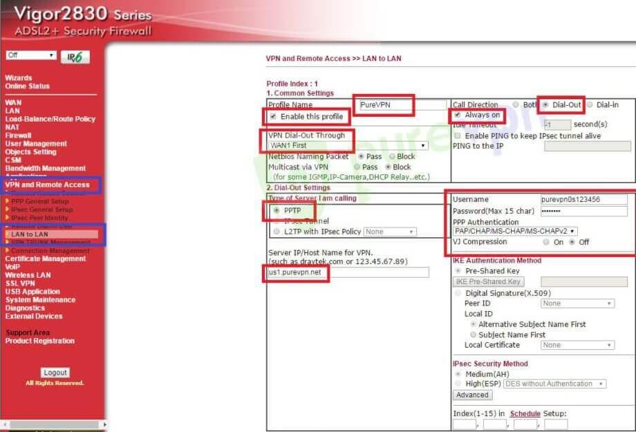 DrayTek Router VPN Setup