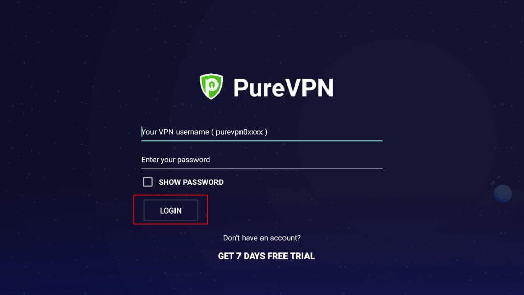 Enter your PureVPN credentials and hit the LOGIN button.