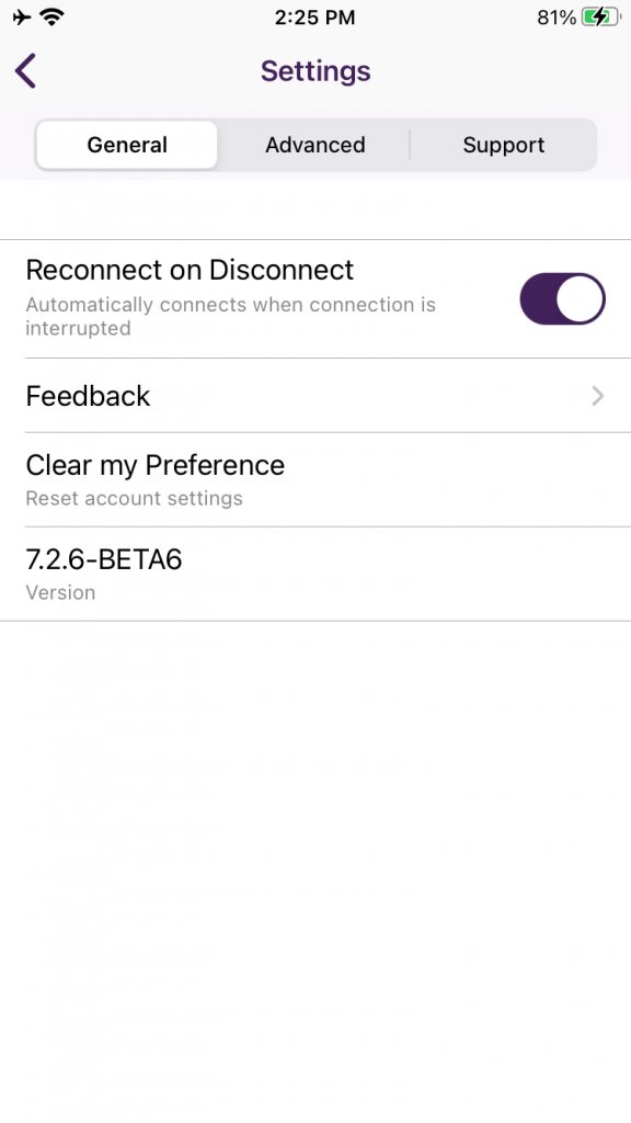 By default reconnect on disconnect is activated to avoid disconnection. You can change the settings and turn it on or off from here only.
