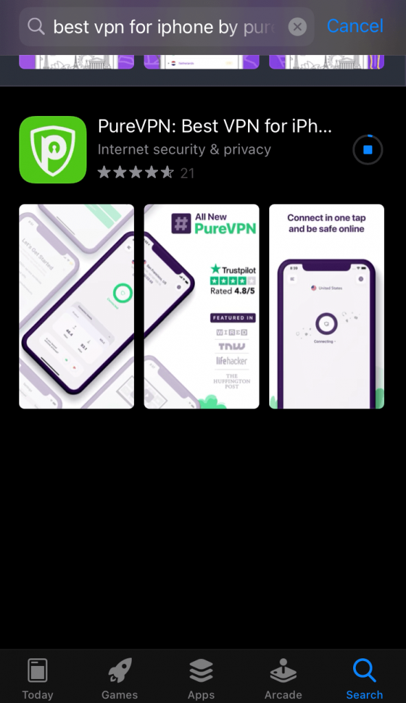 Search for PureVPN & tap GET.