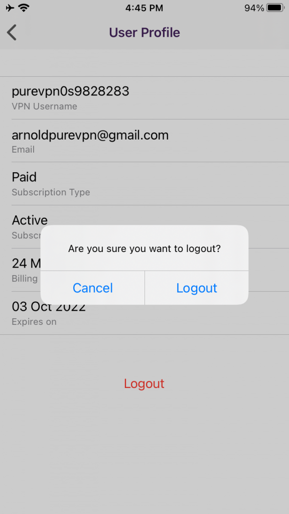 """Tap """"Logout to confirm"""""""