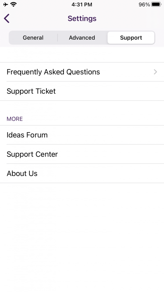 """Under the support Tab, tap """"Support Ticket"""""""