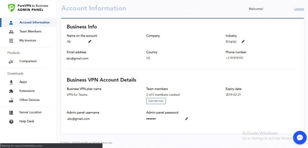 Account infomation PureVPN Business Subscription