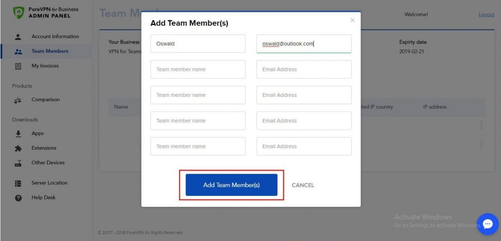 Add Team Member in PureVPN