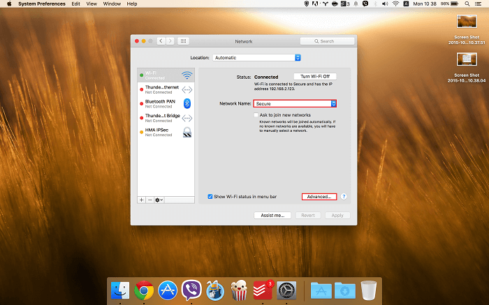 Mac Network Advance Setting