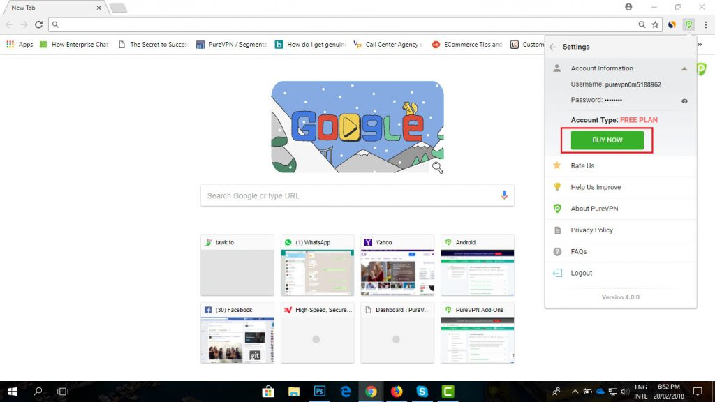 BUY Now button PureVPN browser extension