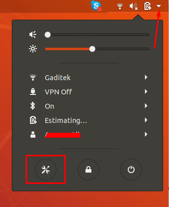 """Click the """"Network"""" icon in top right corner and choose Settings button in bottom left corner."""