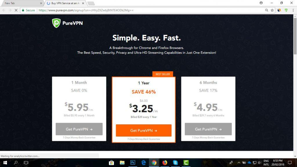 subscription PureVPN browser extension