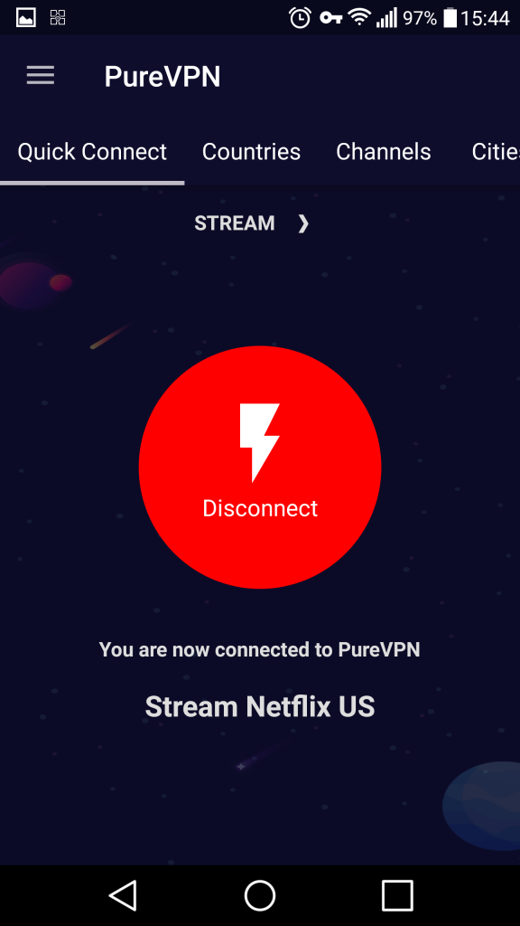 You are now connected PureVPN Android App