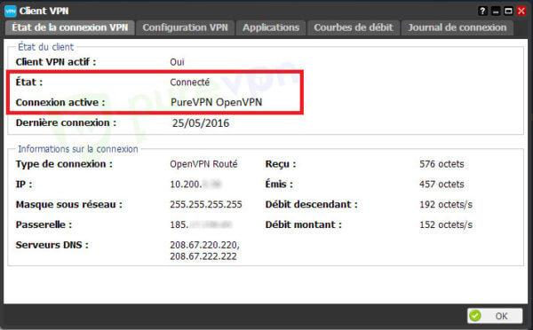Etat de la connexion VPN
