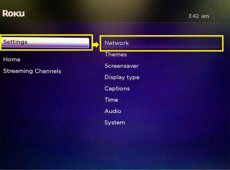 Go into your Roku's menu, then go to Settings > Network