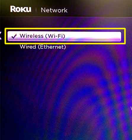 In the Network menu, select Wireless