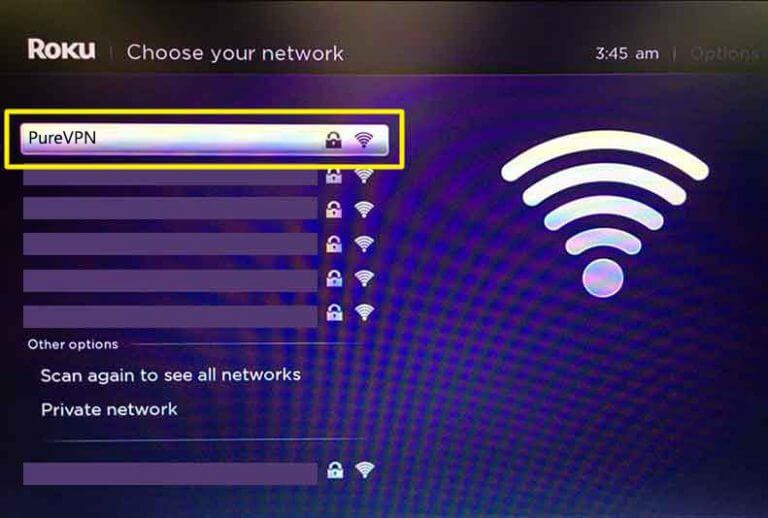 """On the """"Choose your network"""" screen select PureVPN"""