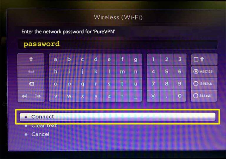 Enter the password then select Connect