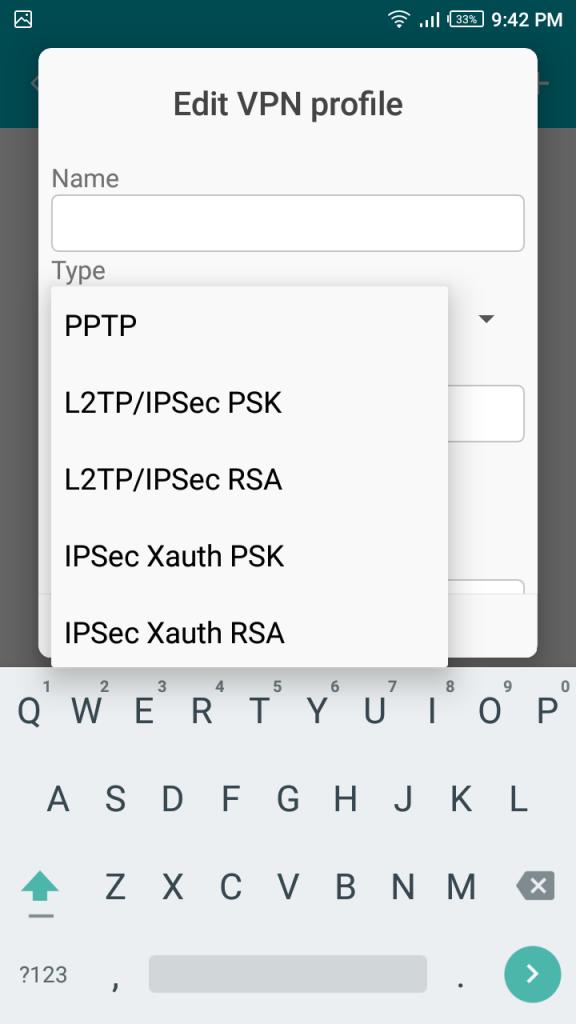 select L2TP/IPSec PSK