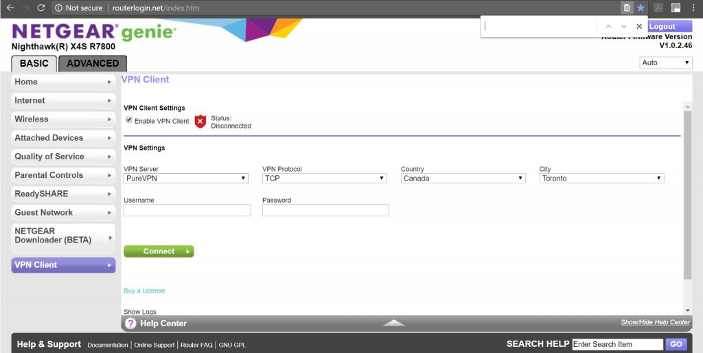 Netgear Genie VPN Setup
