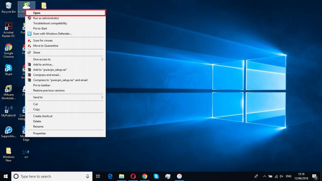 Open PureVPN installer