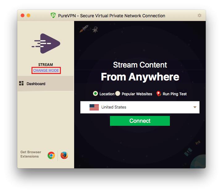 Change mode in PureVPN Mac App