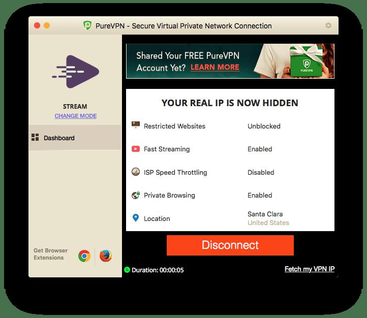 Click Disconnect in PureVPN Mac App