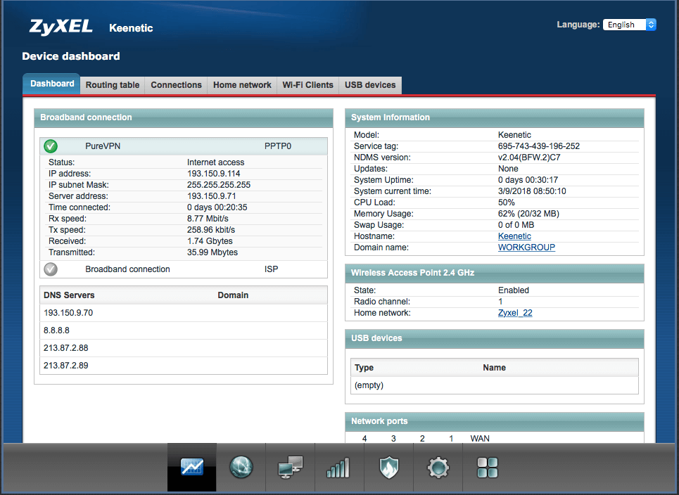 zyxel router is connected to VPN