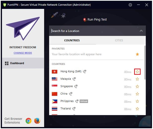 Click the star icon next to the Countries or Cities you want to mark as favorite.