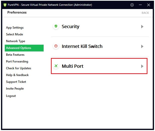 Click the Multi Port option.