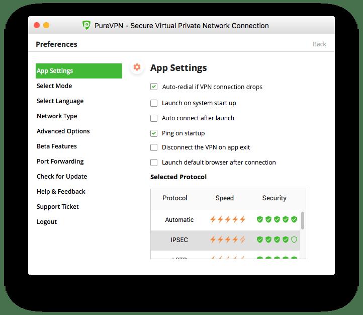 Selected Protocol PureVPN Mac App