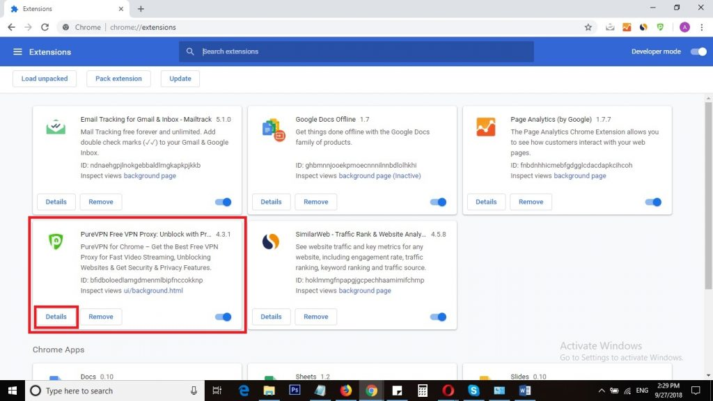 View Details of Chrome extension