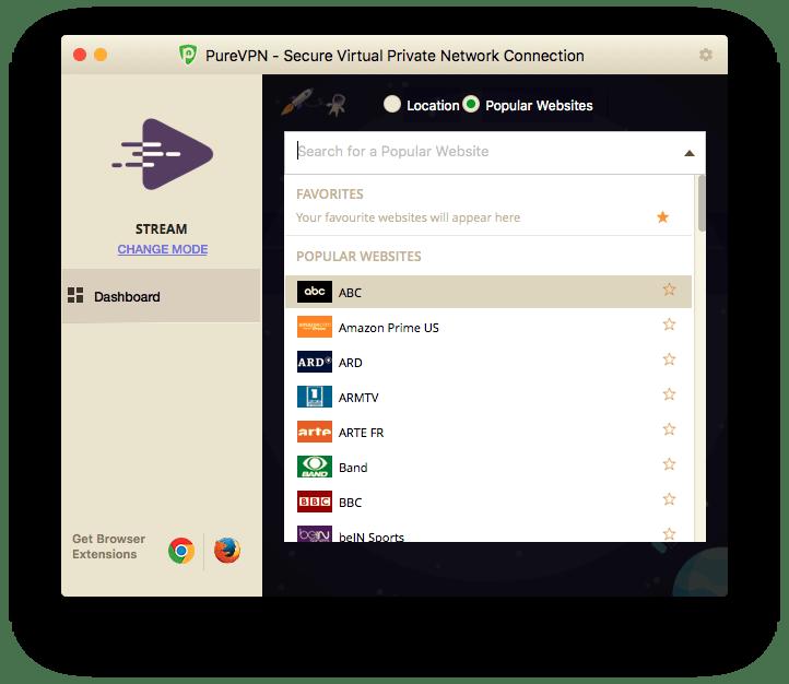 Select desired popular website PureVPN