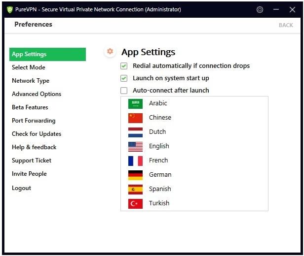 Choose language in PureVPN Windows App