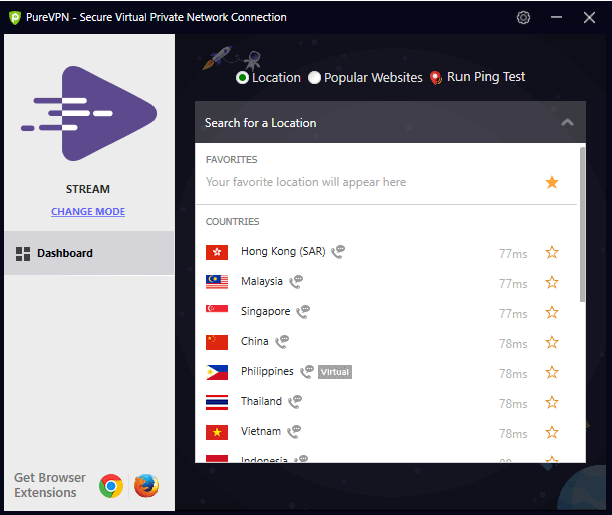Select your desired location | How to login and connect to PureVPN Window's app