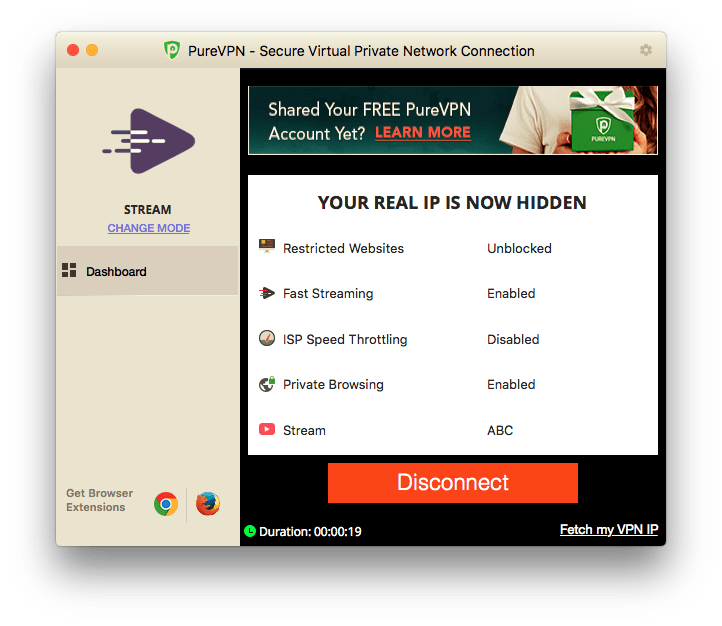 now connected to PureVPN