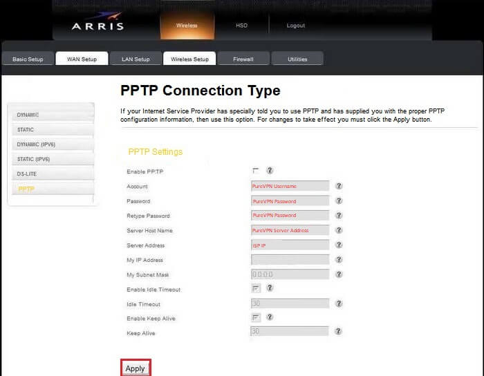 Arris-WAN-setup-PPTP-VPN-connection