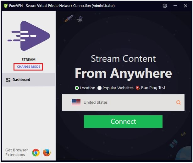 Click on Change mode | How to Connect by City in PureVPN Windows App