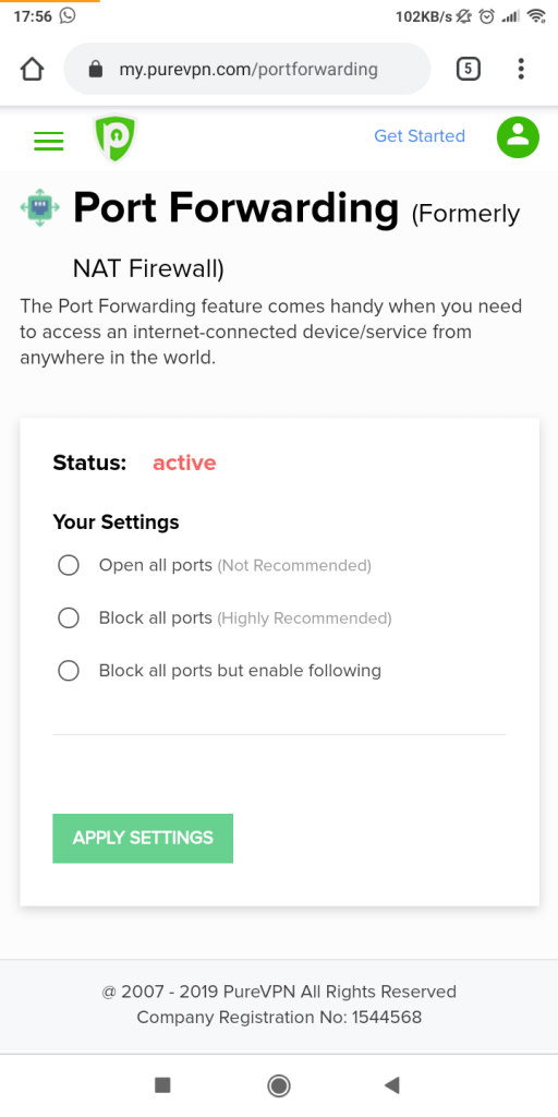Port Forwarding settings in purevpn android app
