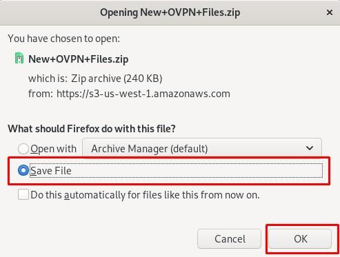 Save OpenVPN file