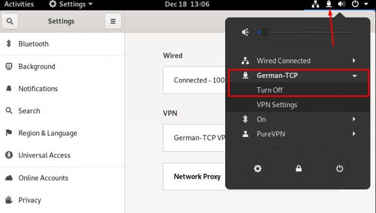 OpenVPN connected on Fedora