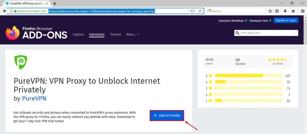 Click Add to Firefox button to install VPN extension